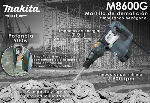 martillo demoledor hex 17mm 900w 5.4kg makita m8600g
