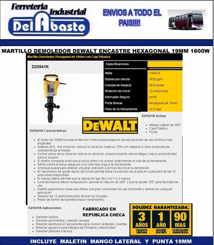 martillo demoledor hexagonal 19mm dewalt d25941k c/maletin