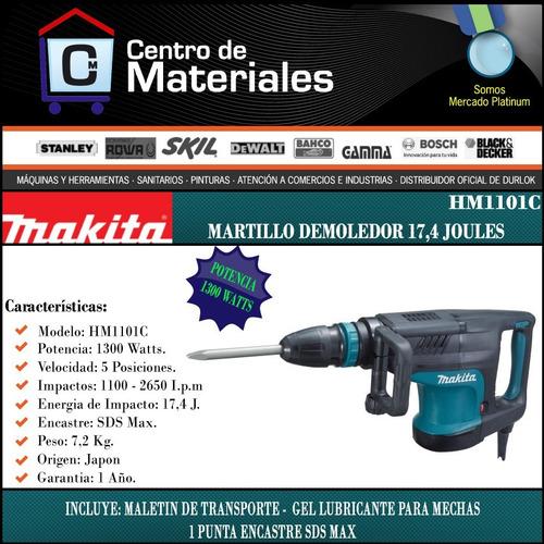 martillo demoledor makita 1300w 17,4 j hm1101c sds max punta