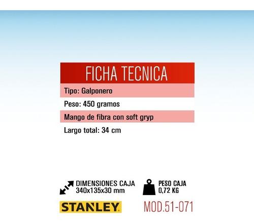 martillo galponero stanley 51-071 34 cm cabo fibra de vidrio