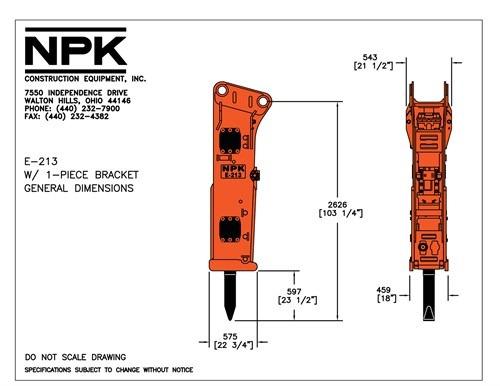 martillo hidraulico npk e213 para excavadoras de 320cl a 325