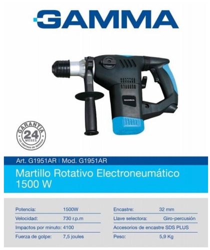 martillo rotativo gamma electroneumático g1951ar 1500w
