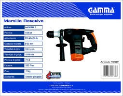 martillo rotativo percutor gamma 7,5 jouls 1500w 32mm sds