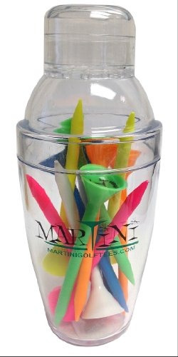 martini golf mini shaker con 3-1 /4 durable plastic tees