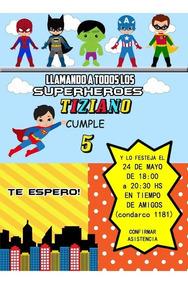 Marvel Héroes Tarjeta Invitación Digital Imprimir Candy Bar