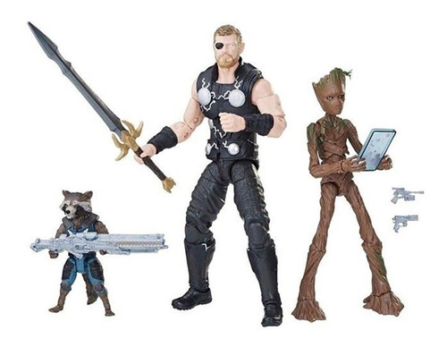 marvel legends avengers infinity war thor groot rocket pack