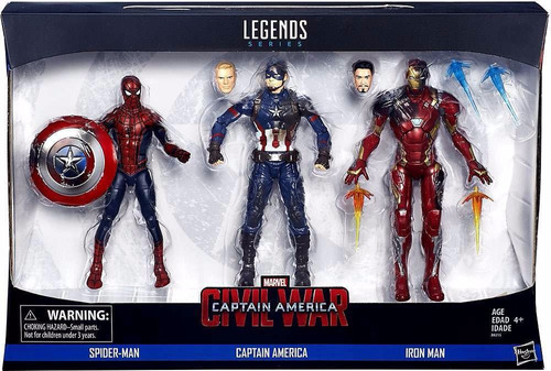 marvel legends civil war spiderman, iron man, capitan pack