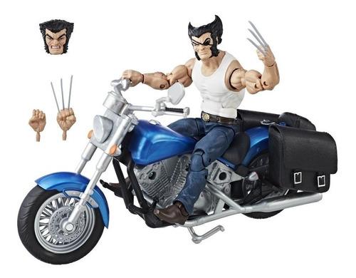 marvel legends ultimates wolverine con moto - robot negro