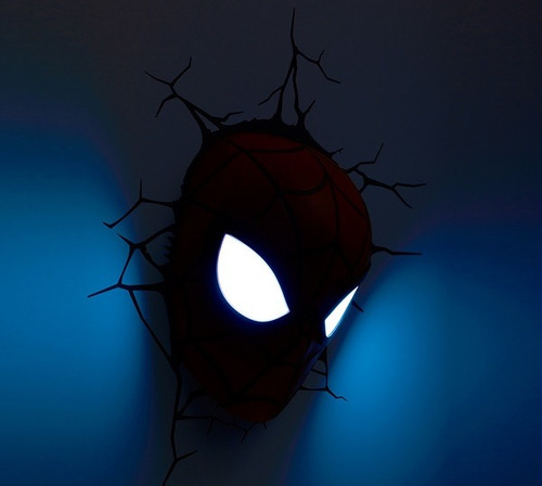 marvel luminária 3d light fx máscara do homem aranha