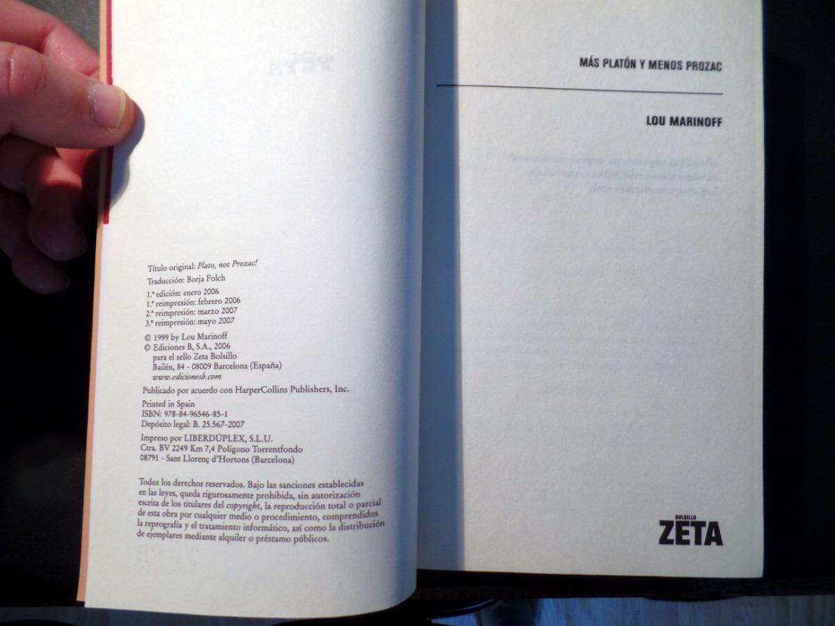 Más Platón Y Menos Prozac Lou Marinoff Ediciones B 2007 14000