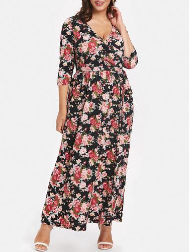 más tamaño impreso tie frente maxi vestido