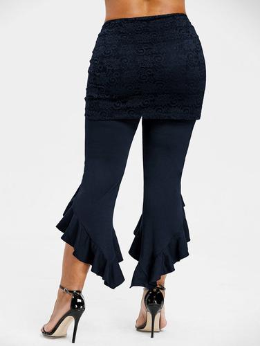 más tamaño ruffle extraíble encaje falda polainas