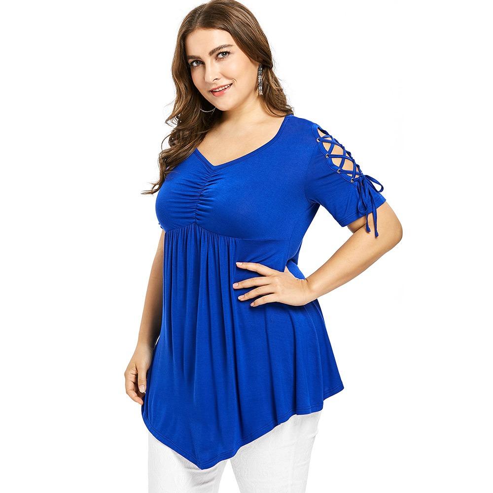 Más Tamaño V Cuello Columpio T -camisa - $ 304.15 en Mercado Libre
