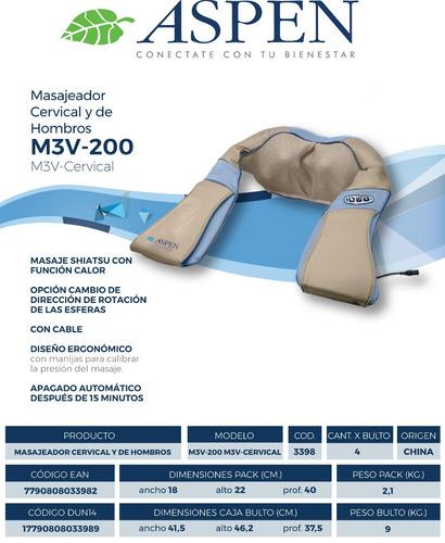 masajeador cervical y hombros shiatsu aspen m3v-200 calor
