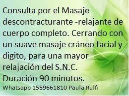 masajes descontracturantes, manipulaciones  y terapia física