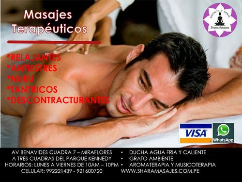 masajes relajantes  y descontracturantes para caballeros