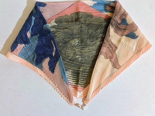 mascada de corea plisada forma diamante con perlas en puntas