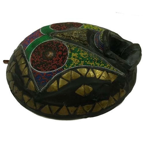máscara africana redonda colecionador madeira m311 fret grát