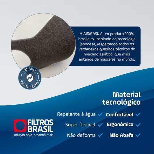 mascara airmask material confortável kit com 2 - tamanho g