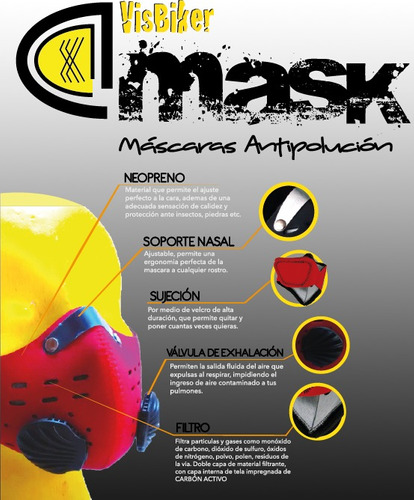 mascara anti-polución visbiker  filtro de carbon activado