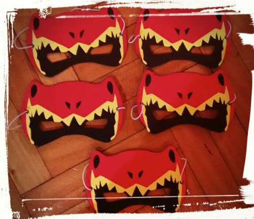 mascara antifaz souvenir infantil goma eva  power ranger x10