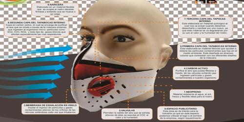 mascara antipolución bici o moto - filtro carbono a. x salud