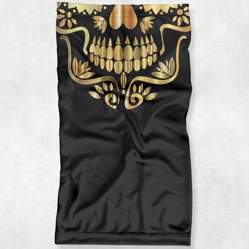 máscara bandana caveira mexicana dourada proteção ciclismo