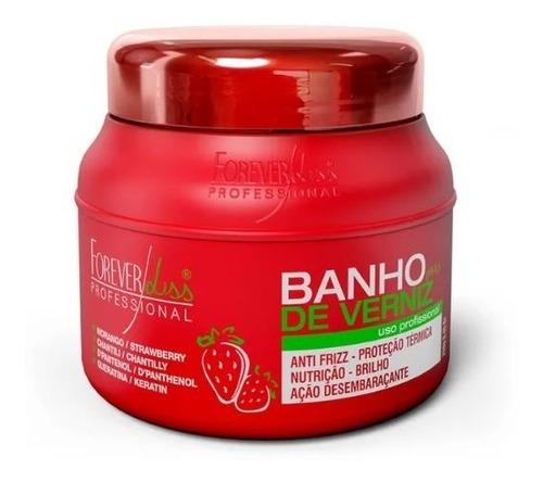 máscara banho de verniz morango  forever liss 250gr
