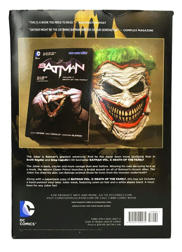 mascara batman joker + novela gráfica