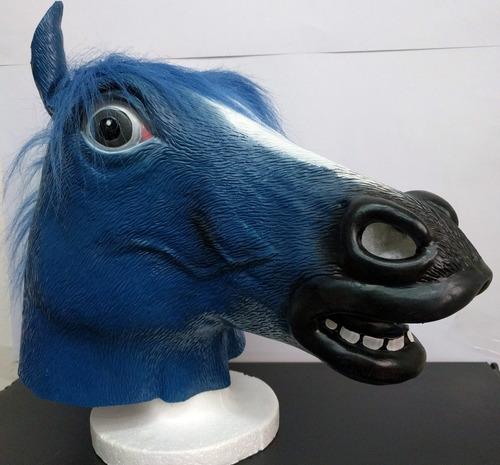 mascara caballo loco azul crazy horse original latex disfraz