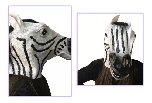 mascara cabeza de cebra de látex alta calidad halloween