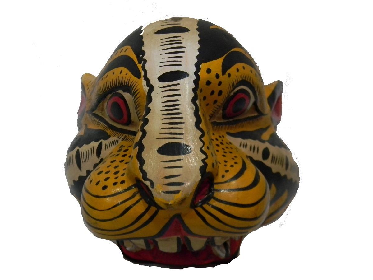 Mascara Cabeza Tigre Tallada En Madera Artesania M39