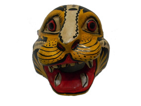 Mascara Cabeza Tigre Tallada En Madera Artesania M43