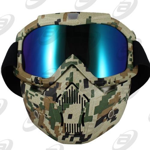 mascara careta casco 3/4 gogles camuflaje mica tornasol