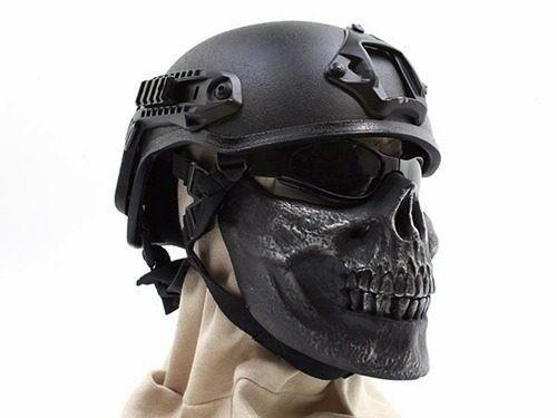 máscara caveira skull airsoft - paintball - moto - meia face