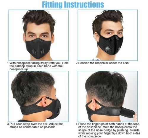 máscara ciclismo/moto con filtro kn95 pm 2.5 pre-venta