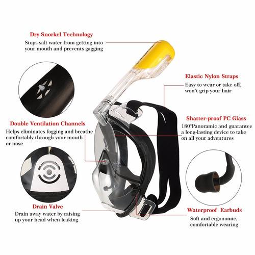 máscara de buceo de buceo antiniebla tubo de snork natación