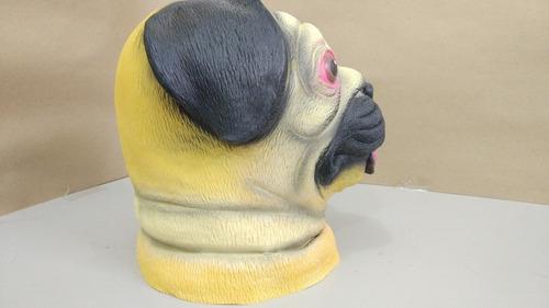 máscara de cachorro pug em latex - pronta entrega