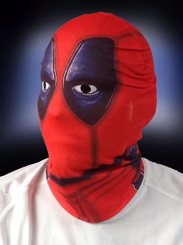 máscara de deadpool y otros personajes en lycra