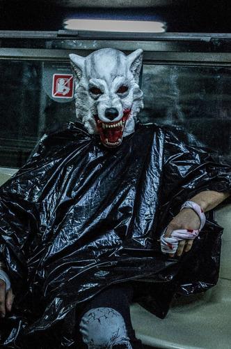 mascara de lobo en latex