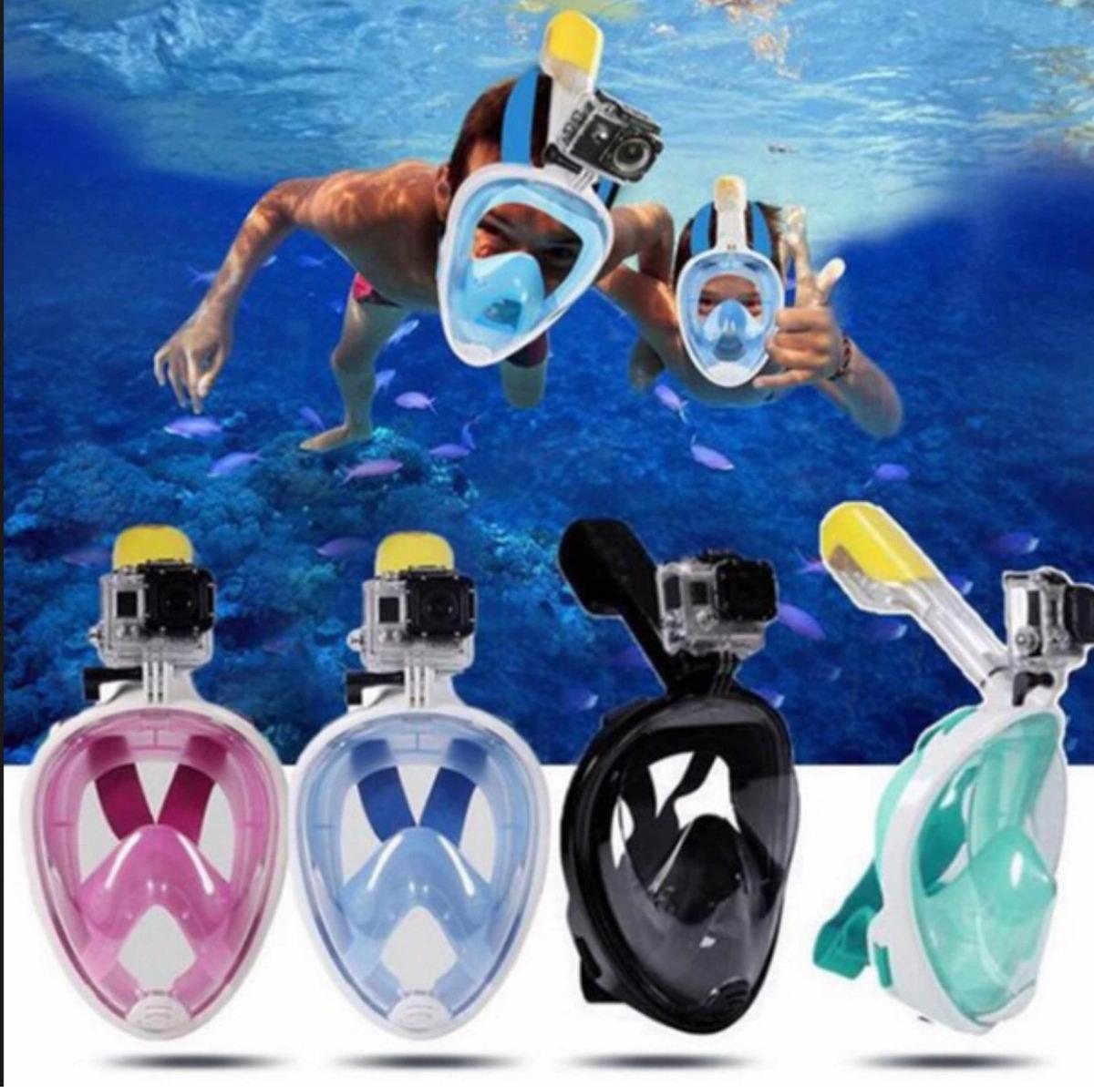 5bf7cc8a7 máscara de mergulho full face easybreath snorkel go pro. Carregando zoom.