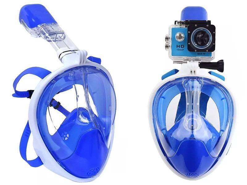fb847b6f3 mascara de mergulho fullface snorkel suporte gopro p m azul. Carregando  zoom.