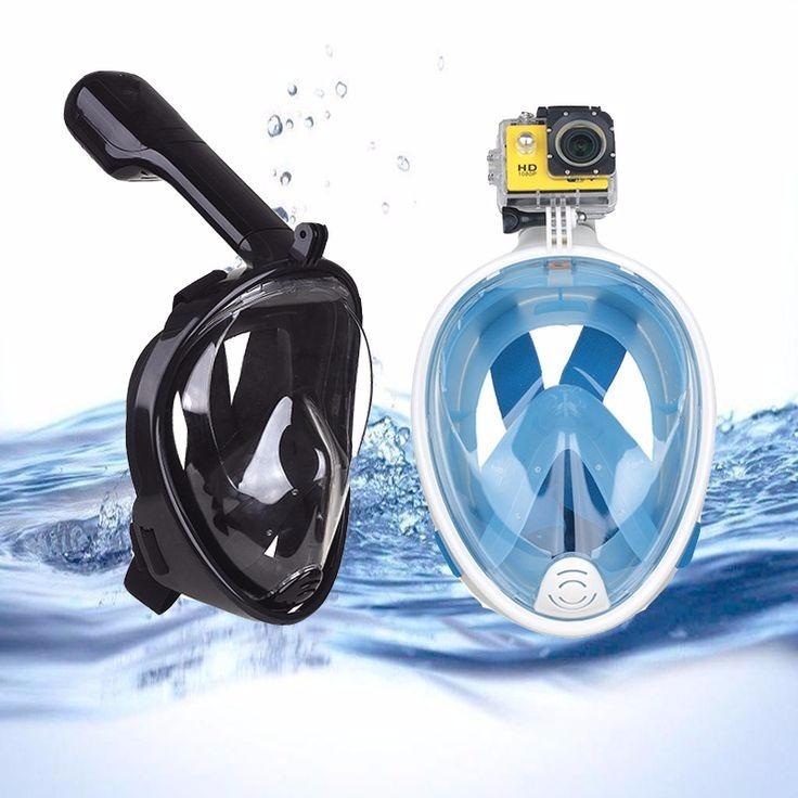 02040ad89 Máscara De Mergulho Snorkel Para Camera Gopro Azul L xl - R  169