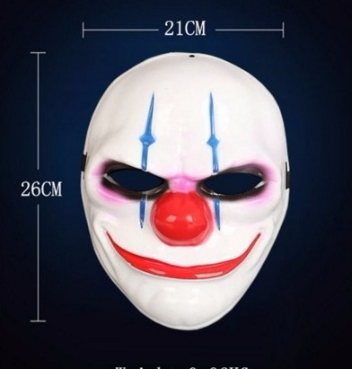 mascara de palhaco halloween para festa payday video game