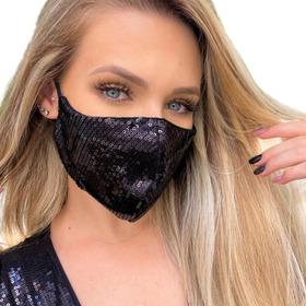 Máscara De Proteção Forrada Paetê Brilho Lurex Tricoline