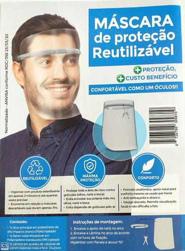 máscara de proteção facial transparente reutilizável confort