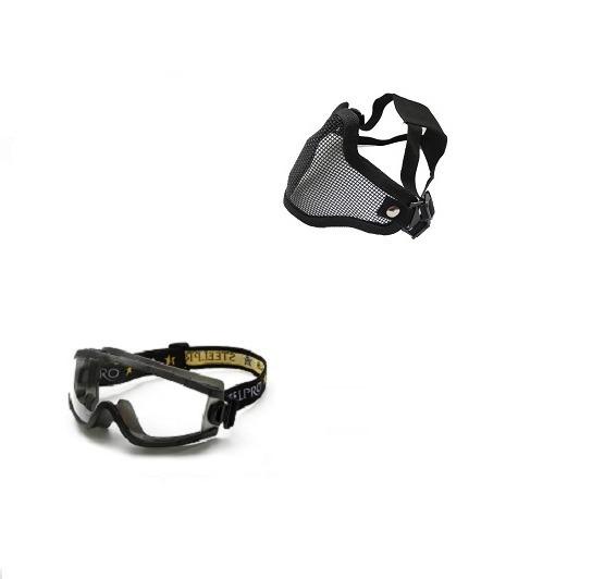 Mascara De Proteção + Oculos Airsoft Tático Kit Varias Cores - R ... 5cdc6da0ef