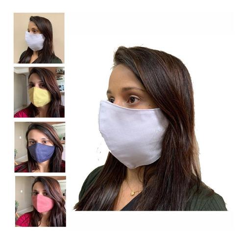 máscara de proteção tecido duplo lavável reutilizável-20 un
