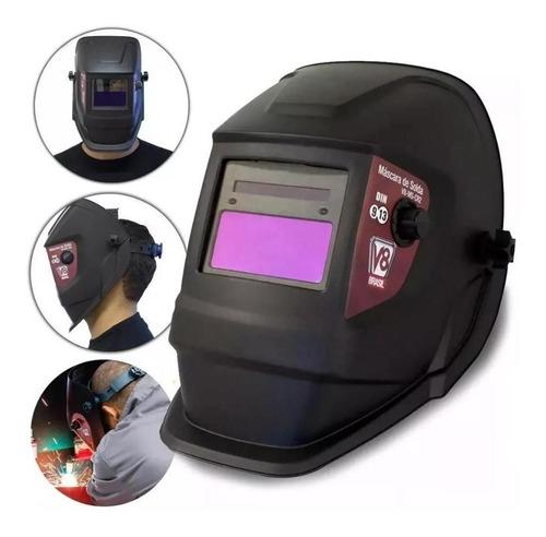 máscara de solda automática com regulagem de escurecimento cr2 v8 + esquadro magnético 7kg titanium