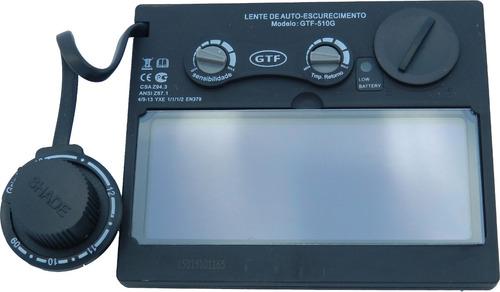 máscara de solda automática gtf-6065 c/lente 510g +3 brinde